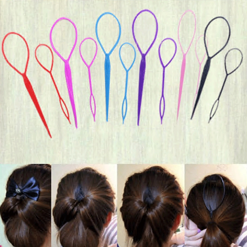 New Hot Sale 2Pcs Ponytail Styling Maker Hair Fashion Twist Braid Makeup Tool Accessories Topsy Tail Hair Braid Ponytail