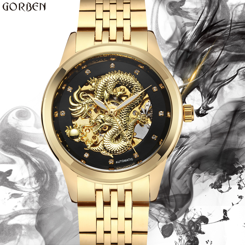 Luxury Luminous Dragon Skeleton Automatic Mechanical Watches For Men Wrist Watch Steel Gold Black Clock Waterproof Men's relogio binger 2017 woman gold skeleton transparent self wind automatic watch elegant ladies black wrist watches female birthday gifts