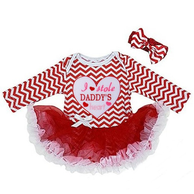 Baby Girl Clothes Baby I Stole Daddyu0027s Heart , Happy Valentines Day Red  Chevron Long Sleeves