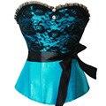Satin overbust Corset Palace princess Costume Waist Cincher Bustier Lace sexy lingerie Wedding clothing Plus Size S-2XL
