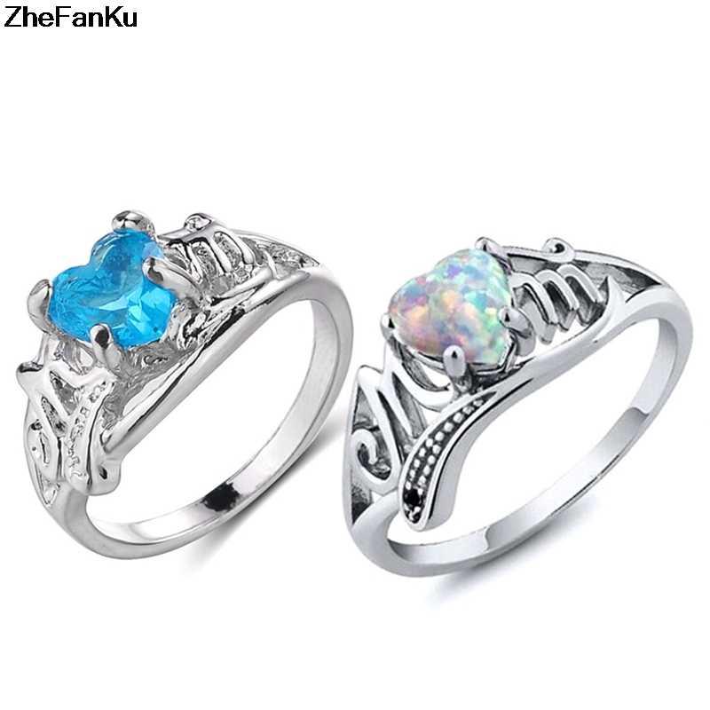 ใหม่วินเทจหัวใจโอปอล Birthstone แหวนถวายตัวแหวน Cz เงินแฟชั่นเครื่องประดับ Bijoux ของขวัญขายส่ง