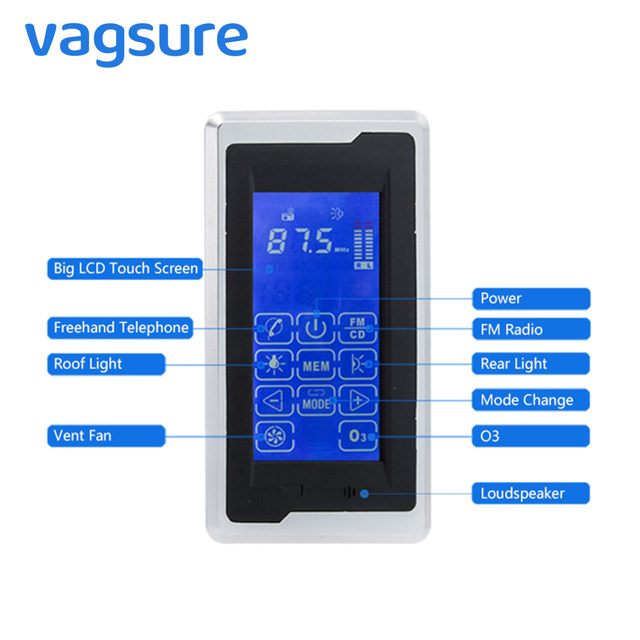 Vagsure Touch Screen Big LCD Display Screen AC 12V Computer Control Panel Shower  Radio Accessories Cabin For Speaker Controller