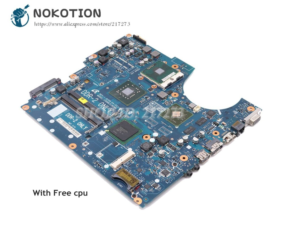 NOKOTION For Samsung NP-R720 R720 Laptop Motherboard DDR2 free cpu BA92-05637A BA92-05637B BA41-01060A BA41-01061A BA41-01062A nokotion for samsung r60 plus laptop motherboard np r60y ba92 04772a rs600me sb600 radeon xpress 1250 ddr2