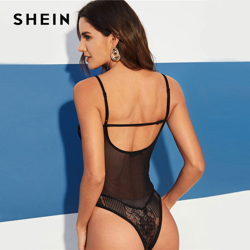 SHEIN Black Sexy Cut Out Back Floral Lace Bodice Sleeveless Solid Cami Bodysuit Summer Women Fashion Skinny Night Out Bodysuits 2