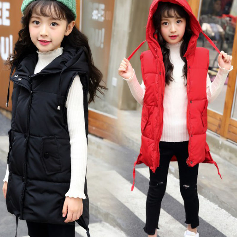 solid hooded down jackets baby big girls sleeveless long thick outerwear coats clothing new 2018 winter children waistcoats tops mint green casual sleeveless hooded top