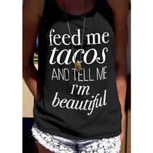feed me tacos tops women gothic sexy tanks harajuku pink casual womens clothing plus size print 2019 summer girls feed me