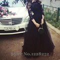 Elegant Black Lace Long Prom Dresses 3/4 Sleeve Boat Neck Floor Length A line Tulle Lace Formal Pageant Dresses 2016