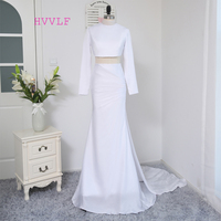 2017 Formal Celebrity Dresses Mermaid High Collar Long Sleeves Two Pieces White Evening Dress Famous Red Carpet Dresses