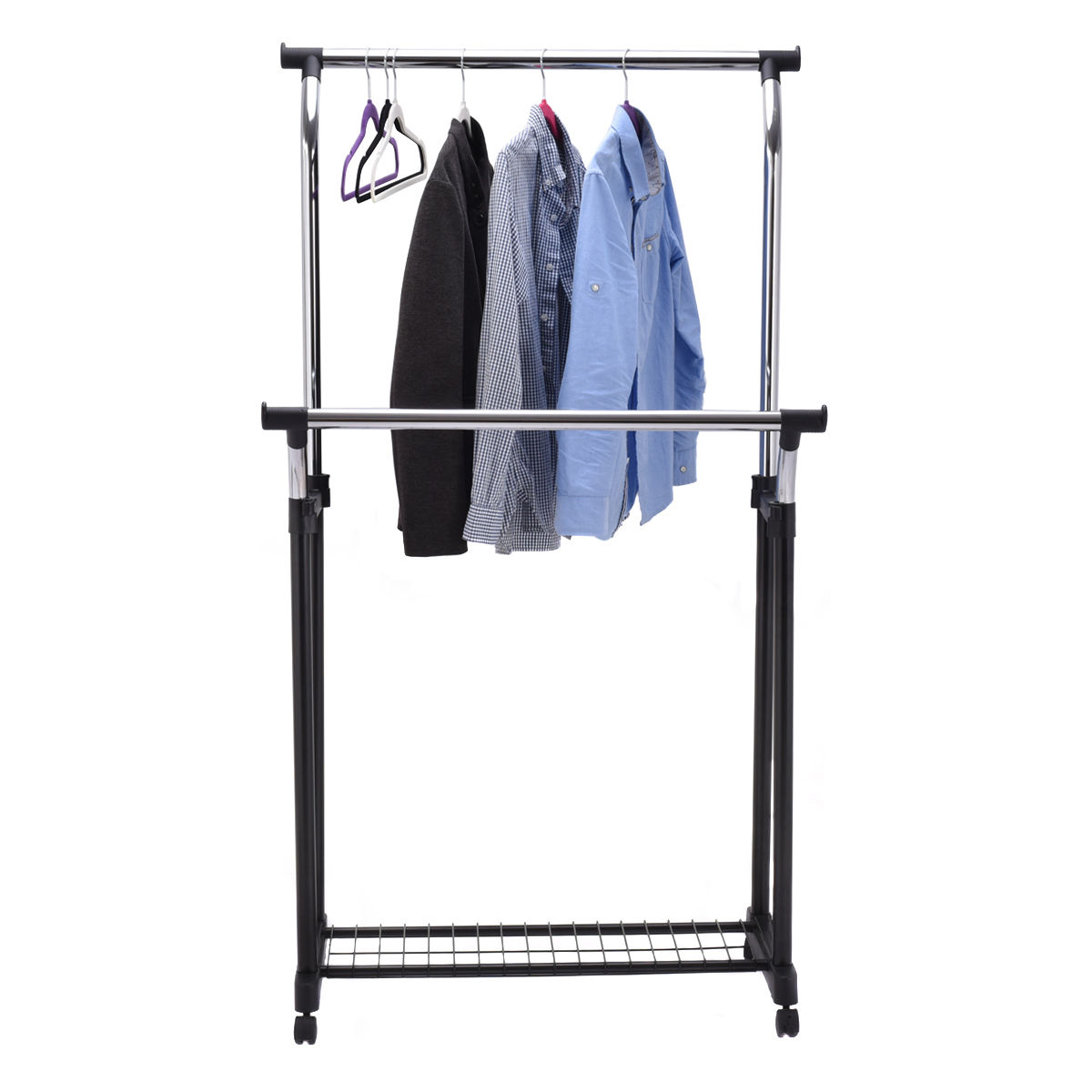 Charmant Goplus Double Rail Adjustable Garment Rack Portable Rolling Multifunctional  Laundry Drying Clothes Hanger With Shoe Rack HW53833 In Drying Racks U0026 Nets  From ...