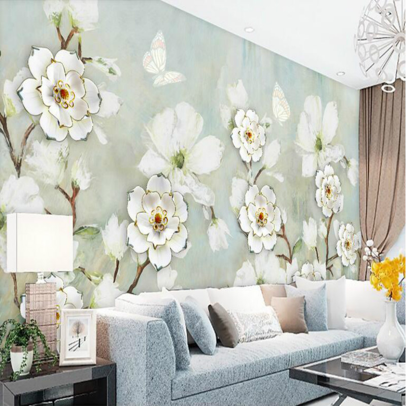 3d Wallpaper for Living Room Home Improvement Photo Modern Wallpaper Background Wall Painting Mural Silk Paper Splendor Flower large painting home decor relief green flowers hotel background modern mural for living room murales de pared 3d wallpaper
