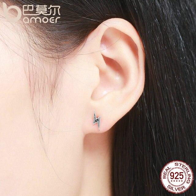 925 Sterling Silver Exquisite Lightning & Black Stud Earrings for Women 2