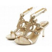 fcfaa0471dc37 Big Size 34 44 Hot 2016 Gladiator Rhinestone Sandals Summer High Heeled  Shoe Crystal Female Sandalias