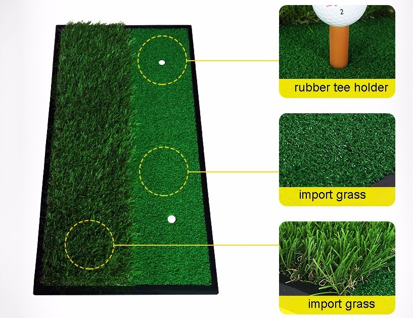 PGM GOLF 33*63cm Backyard Exercise Golf Mat Training Hitting Mat Pad Green Grass Indoor Practice Mat With Rubber Tee Holder