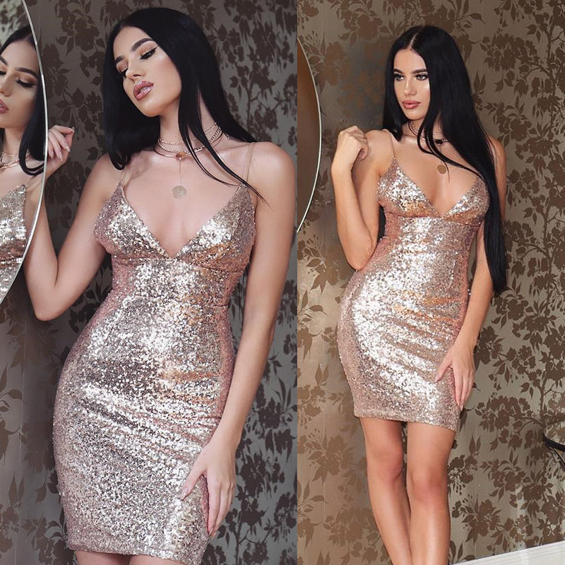 Womens Sexy Low-Cut Deep V Neck Backless Sequins Sling Dress Sleeveless Glitter Party Club Bodycon Mini Dress For Ladies 2019
