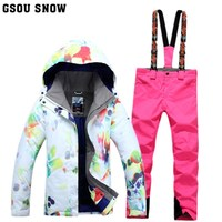 New Gsou snow double deck Snowboard suit women's outdoor windproof waterproof thermal hiking skiing clothes