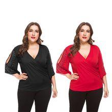 Women Ladies Plus Size Sexy V-Neck Rhinestones Hot Drilling Short Hallow Sleeve Tee T-Shirt Top