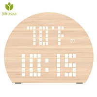 Mrosaa Semicircle Wooden LED Digital Alarm Clock Voice Control Temperature Humidity Display Table Desktop Clocks Home Decoration