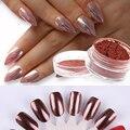 Shinny Zilver Vlokken Efecto de Polvo de Uñas de Arte Pigmento Glitter Rose Oro Del Cromo Del Espejo de Plata M03311