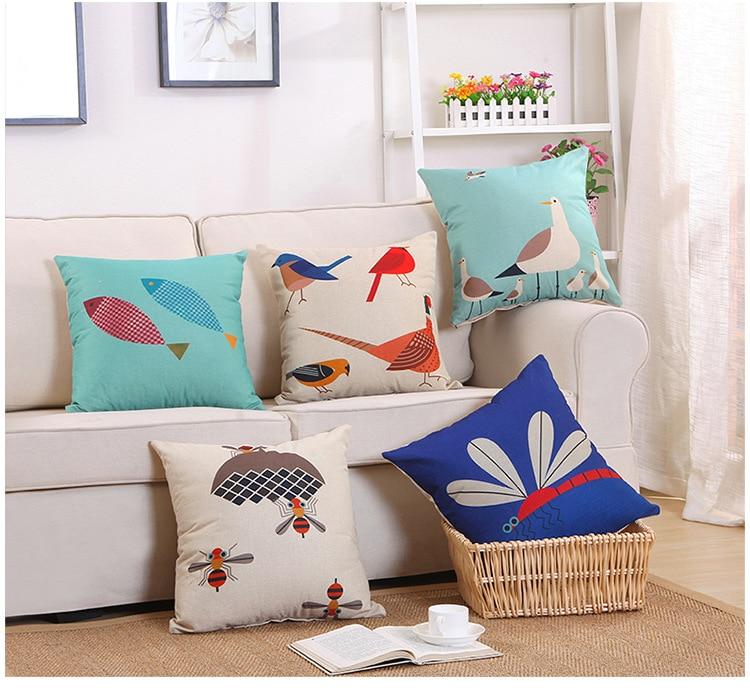 1PC New Arrival Cotton Linen Cushion Sofa Throw Pillows Home Decorative Square Solid Color Button Pillowcase+pillow Core OU 039