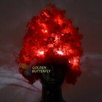 Led rosso dei capelli 11 pcs/pieces novità bianco e nero/colore completo incandescente prom parrucca moda capelli accessori customcolor possono essere selezionati