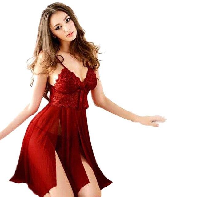 Women Underwear Clothing Spaghetti Strap Sexy Nightgowns Lace Perspective Gauze Nightdress Ladies Summer Perspective Sleepwear