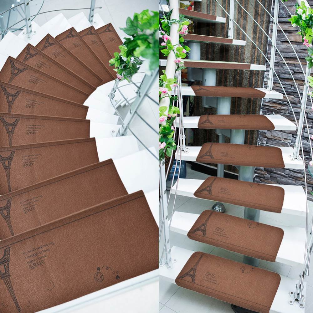 5pcs/set Creative Paris Tower Stair Case Mat Non-slip Floor Carpet Self Adhesive Stepping Mads Stair Treads Kids Protector Pad