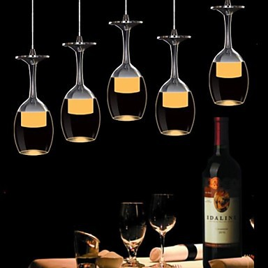 3Wx3 LED Cup Wineglass Modern LED Pendant Light Lamp With 5 Lights for Living Room Bar