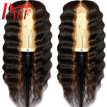 PAFF Glueless Human Hair Full Lace Wig 180% Remy Brazilian Loose Deep Ombre Highlights 1B/30# Color PrePlucked Hairline