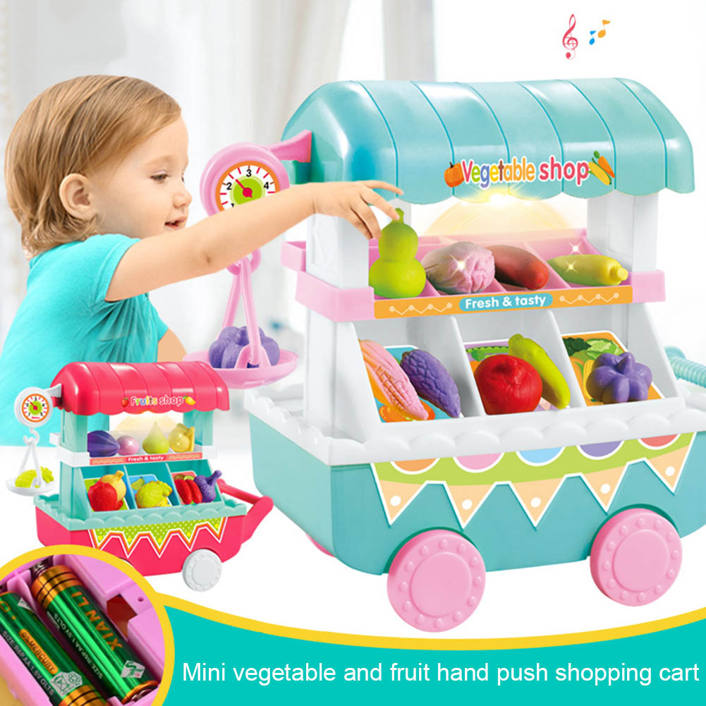 1 Set Children Kids Toy Role Play Vegetables Fruit Shop Cart Pretend Mini Gift With Light Music S7JN