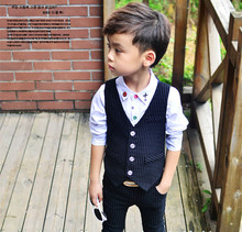 New Fashion Black Boys Suits Regular Boy Suits Formal Blazers 2Piece Suits Pant+ Vest Costume For Boy Weddings KS-1612