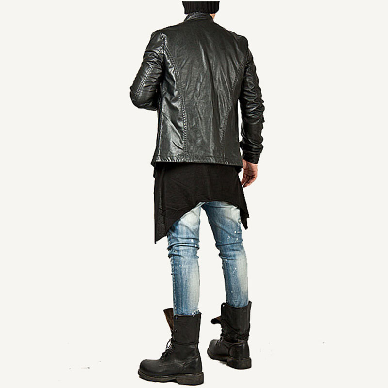 Moomphya 2018 Men Super Stylish Cross Layered Swallow Tail Long Tee Men long sleeve t-shirt Longline hem tshirt streetwear 1