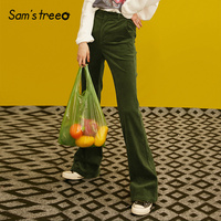 Samstree Vintage Corduroy Women Pants,2019 Autumn Fashion Mid Waist Female Flare Pants Green Casual Office Lady Trousers