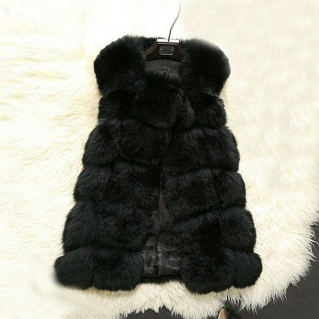 Female Fur Vest Winter Warm Winter Coat High Imitation Faux Coat Outerwear Women's Imitation Fur Fox Fur Coat Fashion Long vest