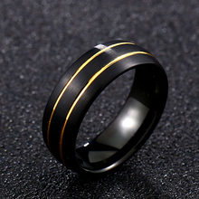 Steel soldier smooth black tungsten with gold wire ring trendy fashion simple life style women jewelry new arrival(China)