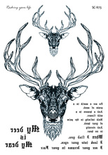 SC2975 HD Large Taty Sketch Black White Deer Head Water Transfer Body Art Temporary Tattoo Stickers Fake Tatoos Tatouage
