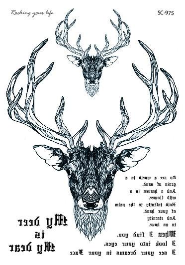 SC2975 HD Large Taty Sketch Black White Deer Head Water Transfer Body Art Temporary Tattoo Stickers Fake Tatoos Tatouage
