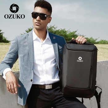 OZUKO New Multifunction Men\'s Backpack with Waterproof Rain Cover Fashion Business Travel Bag Laptop Backpacks School Bookbags