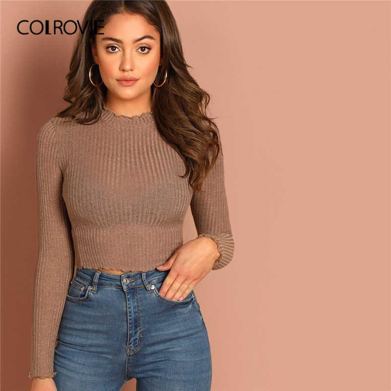 COLROVIE Solid ผักกาดหอม Trim เซ็กซี่ถัก Crop TOP สำหรับสตรี Basic เสื้อ 2019 ฤดูใบไม้ผลิเกาหลีแขนยาวสุภาพสตรีเสื้อ