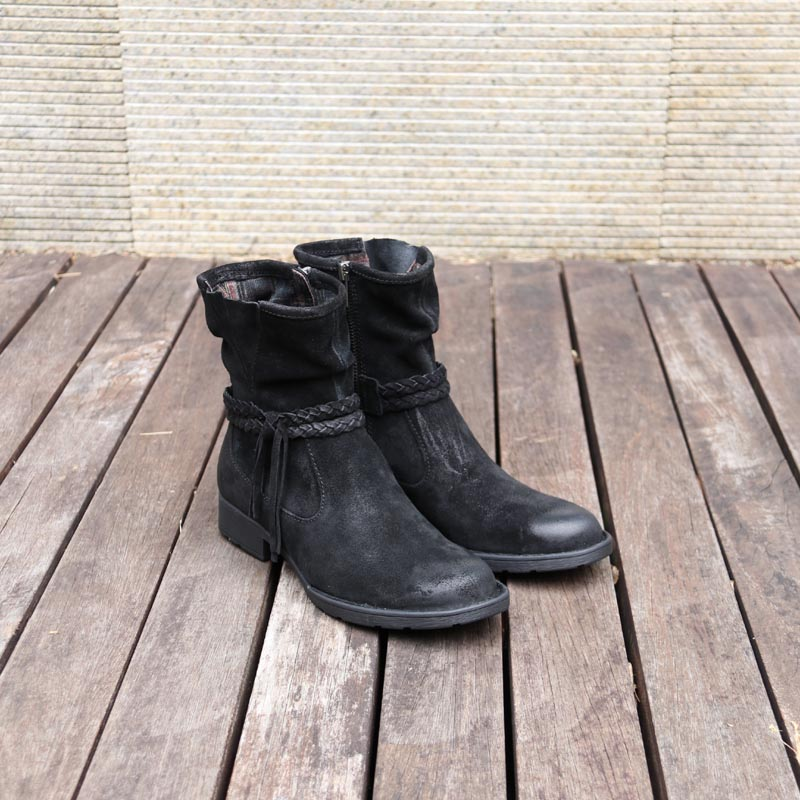 Bottes à franges en cuir bottes courtes en cuir pour femme-in Bottines from Chaussures    1