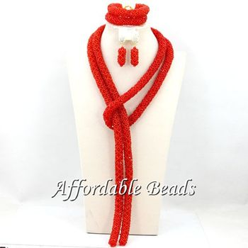 Red Wedding Jewelry Set New Arrival Costume African Jewelry Sets Unique Item Free Shipping BN308