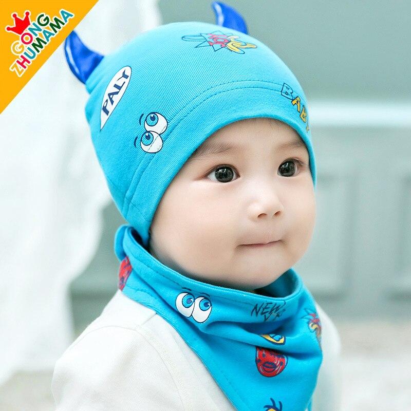 New Arrival Infant Cotton Cloth Cap Baby Bib Hat Set Child Hat Pocket Hat