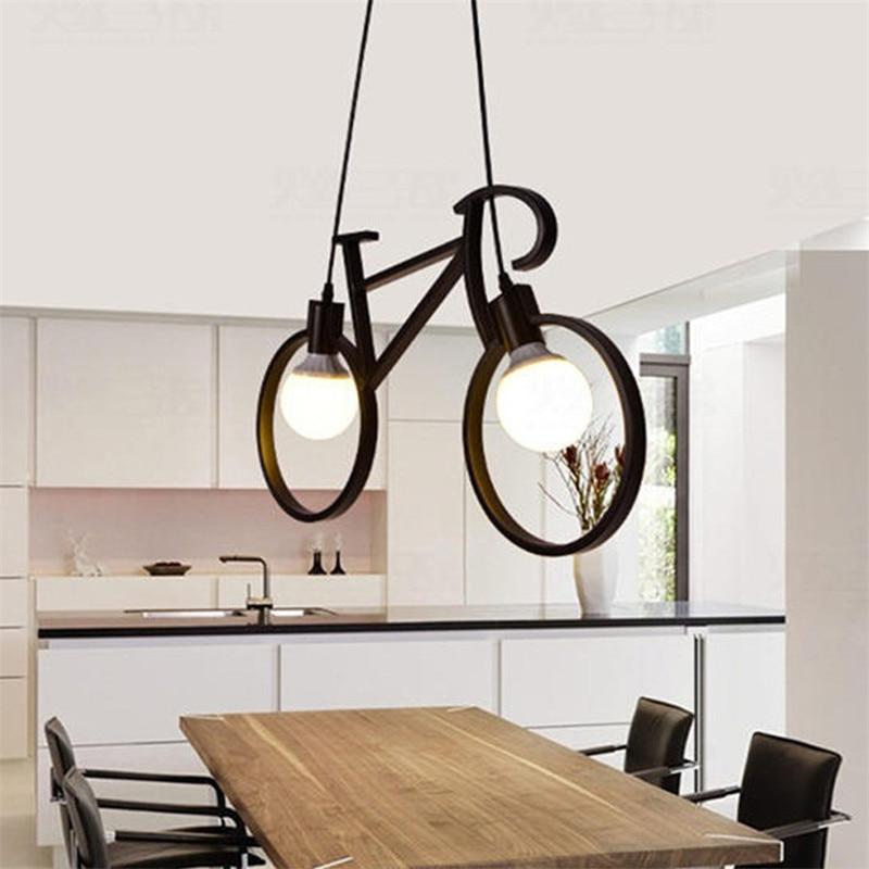 Retro Bicycle Pendant Light Creative Iron Luminaire Living Room Pendant Simple Restaurant Bar Industrial Kitchen Hanging Lamps