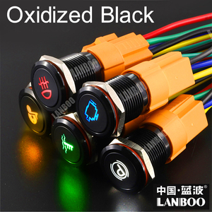 Image 4 - LANBOO manufacturer 12 24 220V car power on off Signal control push button switch with 16mm Aluminum oxide black custom icon DIY