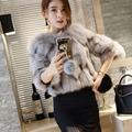 Real natural genuino escudo de piel de zorro mujeres chaqueta de piel de moda de las señoras más de abrigo outwear