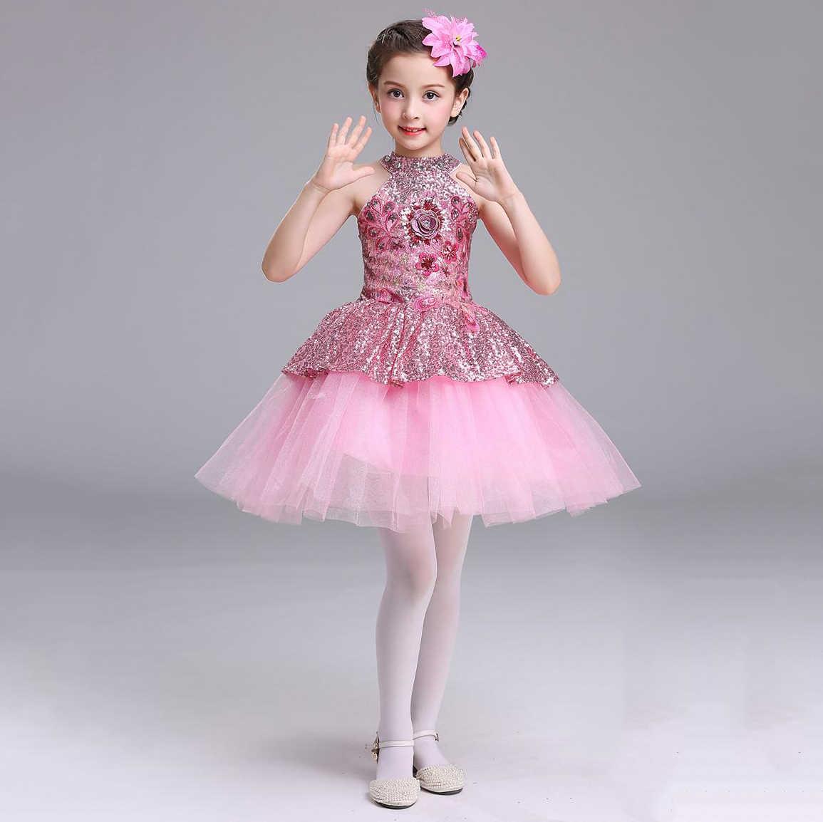 b244efe13008d ... Children Summer Clothing Girls Bling Bling Sequins Top Graduation Party  Jazz Dance Dress Girls Kids 2 ...