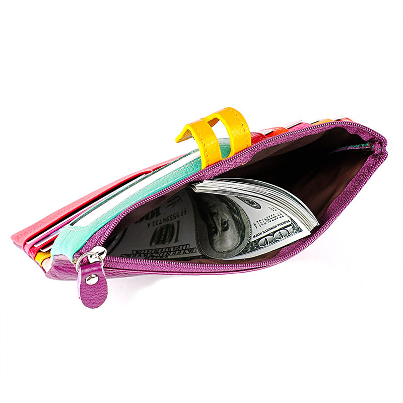 Image 3 - 女性本革財布カラフルな女性ロングリアルレザークラッチ財布女性ジッパー電話コイン財布札入れ女性のバッグ財布   -