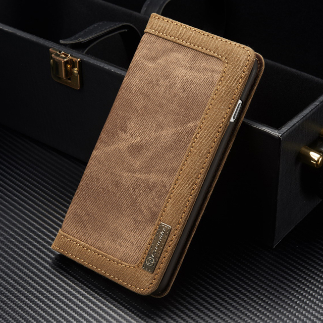 Canvas Cloth Leather Case For iPhone 7 8 6 6s Plus 5s SE Magnet Flip Wallet Cover For Samsung Galaxy S9 S8/ Plus S7 S6 Edge Case