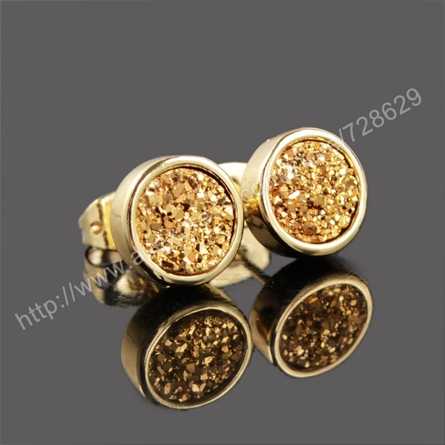 e71acdfd3 BOROSA 5Pair/lot 8mm Round Natural Gems Druzy Stud Earrings Gold Color Golden  Druzy Stone Earrings gift for Women G0198-golden