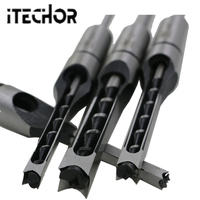 iTECHOR 4 PCS DIY Woodworking Tool Mortising Chisel Set Square Hole Extended Drill Woodworking tools 1/4 5/16 3/8 1/2 Inch