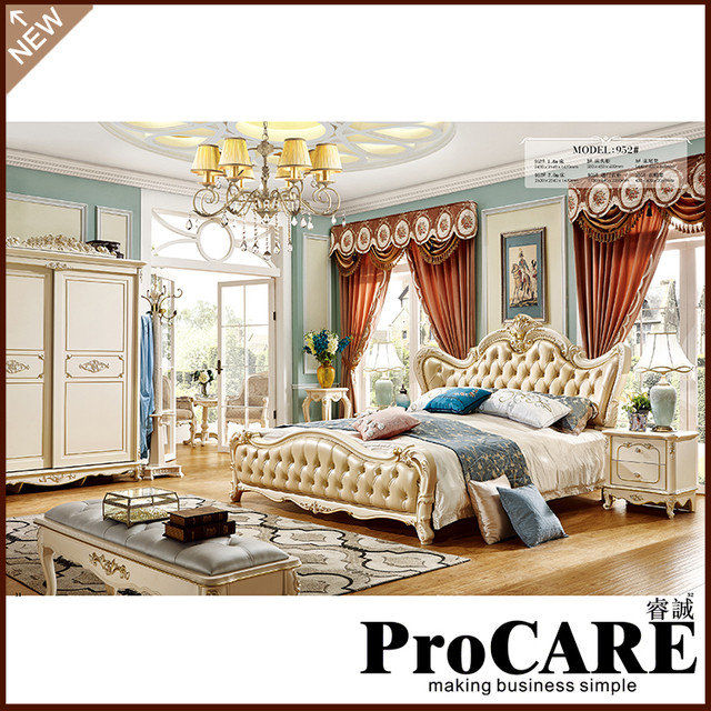 Luxury Clic King Size Wood Royal French Style Barocco Bedroom Furniture Set